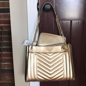 New w/tags gold Michael Kors bag w/wallet.